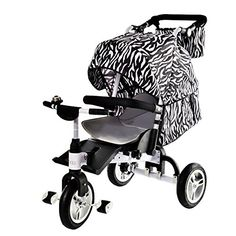 OLizee Ultimate 3 in 1 Stroller Baby Can Lie Down Kids Tricycle Stroller Combo Folding Child Trike Bike with Canopy Storage Bag (Black White) -- Details can be found by clicking on the image.