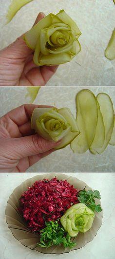 Розочки для вас! Из овощей! (пошагово) : Украшение блюд. Шаг-за-шагом | Еда-Карвинг. | Постила