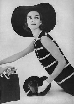 Anne Saint Marie and Dachshund; Vogue, 1957