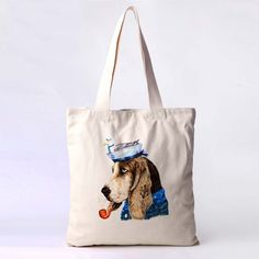 NATURAL COTTON CANVAS ECO SHOPPER SHOULDER TOTE BAGS --Dog Smoking