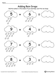 kindergarten math addition worksheets  free printable easter math  free adding numbers with rain drops up to  worksheet add