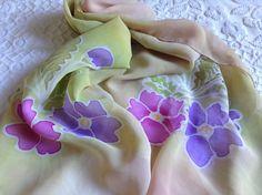 Hand Painted Muslin Scarf Scarf Flowery Muslin by VioletaMarket