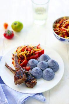 Wonderful little lamb chops with seriously cool blue Duchess Potatoes