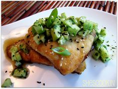 Sea bass with cucumber salsa and soy mirin glaze. I've made this 3x but I use steelehead trout or salmon and it's amazing! Easy dinner but fancy enough to entertain with!