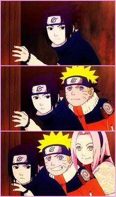 Sasuke, Naruto and Sakura Team 7 Naruto Team 7, Naruto And Sasuke, Naruto Cute, Naruto Funny, Shikamaru, Kakashi Hatake, Sakura And Sasuke, Naruto Shippuden Anime, Sakura Haruno