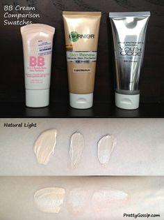 PrettyGossip- BB Cream Swatches- Loreal Garnier Maybelline