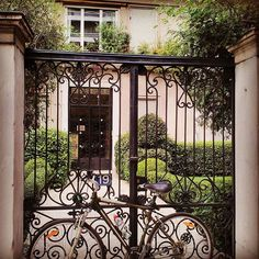 Bike on a classic Athenian garden gate  #bicycle #gate #garden #street #bikephoto #Athensgreece #classic #urban #citylife #wayoflife #architecture #19 #door #metaldoor #athenian