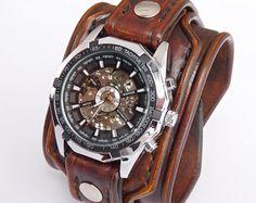 Mens wrist watch leather bracelet Steampunk by loversbracelets