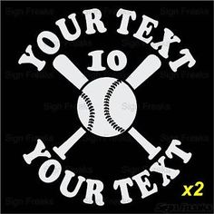 Details About Personalized Baseball Car Window Decal Sticker Your - Custom car decals baseball