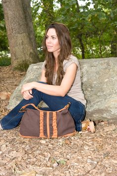 Modern Cotton Brown and Rust Ruffled Bag