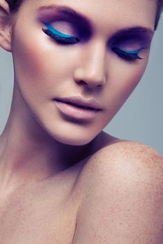 Bright Eyes – Adair (Look Models) shows off colorful eye makeup in Jeff Tse's recent images. A cap and bold eye shadow by makeup artist Preston Nesbit complete Adair's soft, beautiful look. / Production by Emily Bishop