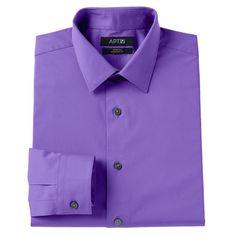 Men's Apt. 9® Slim-Fit Stretch Spread-Collar Dress Shirt, Size: 17.5-32/33, Med Purple