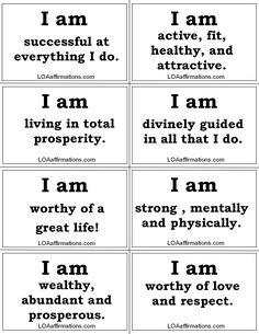 "http://www.facebook.com/loaaffirmations Remember what follows these two simple words ""I AM"" will determine what type of life you have and will bring you success or failure. Print them out, cut them out and READ THESE EVERYDAY! Be sure to share, share, share!!!"