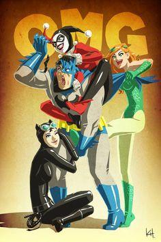 batman catwoman harley Quinn Poison ivy