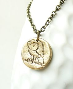 Owl pendant made from mold of antique wax seal by DreamofaDream, $16.00
