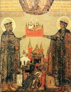 Страстотерпцы Борис и Глеб с Борисоглебским монастырем. Икона XVII века. Дни памяти: май 2, июль 24