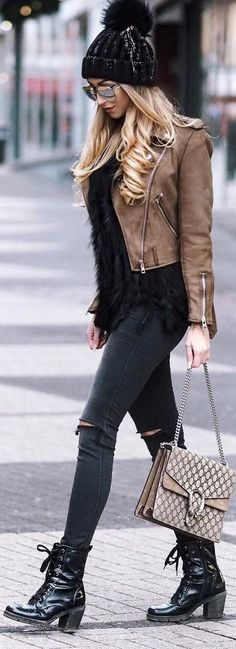 Black Beanie / Brown Leather Jacket / Ripped Skinny Jeans / Black Leather Booties