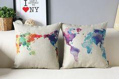 Coloré monde carte coussins/couverture couverture par ColorfulZ