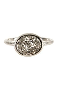White Rhodium Clad East/West Druzy Oval Ring by Rivka Friedman on @HauteLook