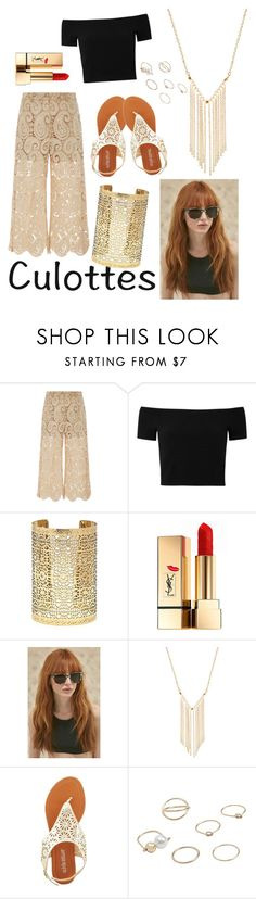 """""""Untitled #88"""" by kathrynrose42 ❤ liked on Polyvore featuring self-portrait, Alice + Olivia, Forever 21, Yves Saint Laurent, Prism, Gemelli, Olivia Miller, MANGO, TrickyTrend and culottes"""