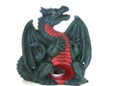 Ceramic Dragon t lite candle or Incense Holder, hand painted - 7 inches