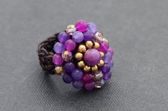 Violet Glam Cocktail Knitted Ring by XtraVirgin on Etsy