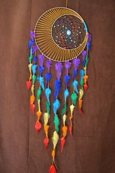 Dream Catcher Chakra Wandbehang Regenbogen entkernen Mond Dream Catcher Boho Traum Catcher Heilige Geometrie große Wand Heilkunst Dream Catcher Chakra Wall Hanging Rainbow Core The Moon Grand Dream Catcher, Beautiful Dream Catchers, Dream Catcher Craft, Large Dream Catcher, Dream Catcher Boho, Making Dream Catchers, Doily Dream Catchers, Dream Catcher Mobile, Homemade Dream Catchers