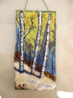 Needle Felted Wall Hanging Tapestry Winter Birches. $84.00, via Etsy.