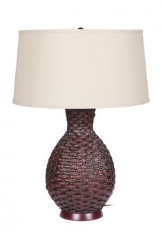 One Light Beige Linen Shade Chocolate Table Lamp