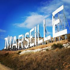 Grandes lettres blanches de 13,70 mètres de haut, installées par l'américain Netflix pour le lancement de la Série #Marseille... #Provence #Netflix                 + info :http://madeinmarseille.net/15240-lettre-geante-hollywood-littoral/