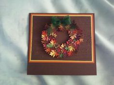 Each leaf was individually inked to make them multi colored and then embossed with lines. I love making these leaves. Have not added a Greeting yet.  SueBee Cards   Susan Bagley