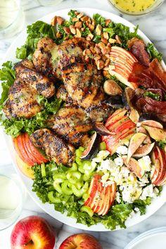 Chicken Harvest Salad Recipe - Damn Delicious Grilled Chicken Tenders, Grilled Chicken Recipes, Recipe Chicken, Chicken Salad, Meat Salad, Salad Bar, Fruit Salad, Fig Recipes, Salad Recipes