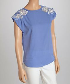Look what I found on #zulily! Blue Ribbon Embroidered Cap-Sleeve Top by Fashion Web #zulilyfinds