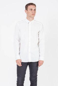 ESSENTIAL LINEN L/S SHIRT WHITE - SHIRTS - TOPS - SHOP MENS Assembly Label