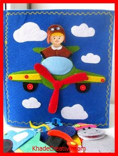 KhadeCreativa.com airplane quiet book page. The rest of the quiet book is adorable! Professions, little dollhouse, and other things. source by :http://pinterest.com/pin/575334921120765794/