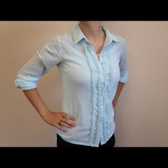 Additions by Chico's Mint and white stripe with ruffle detail down the front Chico's Tops Button Down Shirts