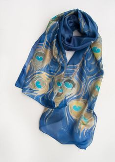 Peacock feathers silk scarf hand painted Hand painted scarf shawl Olympian blue scarf Silk shawl painted Luxury scarf art deco style shawl