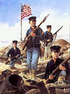 The Spanish–American War was a conflict in 1898 between Spain and the United… Spanish War, The Spanish American War, American Civil War, American History, Military Art, Military History, Military Uniforms, Navy Uniforms, Army Uniform