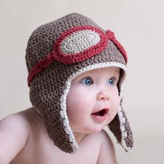 Hand Crochet Baby Aviator Hat