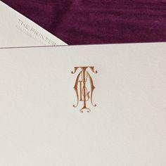 Bone White Empire Card with Vintage Purple Bevel and Copper Monogram, Envelopes lined wit Dubonnet Tissue. Monogram Stationary, Monogrammed Stationery, Monogram Design, Monogram Logo, Oyster Bay New York, Wedding Stationery, Wedding Invitations, Writing Art, Fine Paper