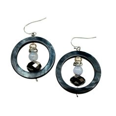 Checkout this amazing deal circle navy earrings with silver crystal,$22