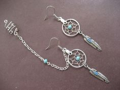 Turquoise Beaded Dream Catcher Asymmetrical Cartilage Chain and Ear Cuff Dreamcatcher Earring Set. To go w my belly piercing.