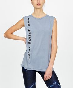 """LENNON TANK Workout tank by The Upside featuring super low cut arm holes and vertical Upside text detail. Made in a soft, quick drying fabric. Model is 5'8"""" and wears size S"""