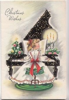 Pretty Young Lady, Girl Playing The Piano, Vintage Christmas Card!