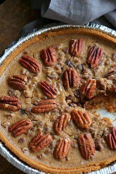 Vegan Chocolate Pecan Pie with Dates and Chai spice. All the pecan pie with chocolate. Vegan Derby Pie. Glutenfree with gf crust. Soyfree Recipe. #vegan #veganricha | VeganRicha.com