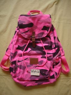 NWT Victoria s Secret Pink Camo Camouflage Neon Book Gym Backpack Bag Full  Size in Clothing 3324d3f645808