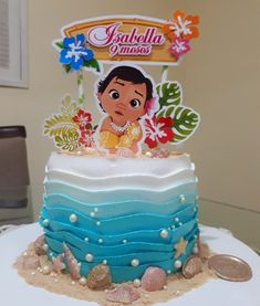 If you want a bolus of Moana more modern and beautiful, I suggest you send B . Moana Birthday Party Theme, Moana Themed Party, Cute Birthday Cakes, Birthday Party Snacks, Moana Party, 2nd Birthday Parties, Birthday Party Decorations, Birthday Party Invitations, Birthday Celebration