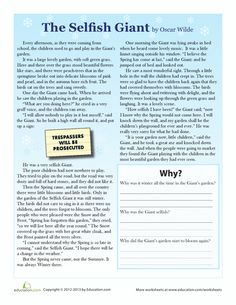 Third Grade Comprehension Worksheets: The Selfish Giant Reading Comprehension Passages, Comprehension Worksheets, Reading Worksheets, Comprehension Questions, Teaching Skills, Teaching Reading, Learning, 3rd Grade Reading, Third Grade