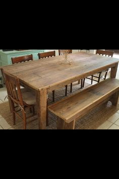 Rustic farm table and bench  Find us on Facebook  Monceret's Fine Woodworking