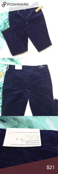 "Lauren Conrad corduroy jeggings Navy blue so soft corduroy jeggings! 16"" waist-flat and measured, 28"" inseam, 5 1/2"" leg opening. 99% cotton/ 1% spandex. Machine wash inside out. LC Lauren Conrad Pants"